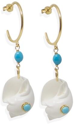 Bleu Turquoise nacres rose corail plaqué or Leverbacks Pretty Dangle Earrings