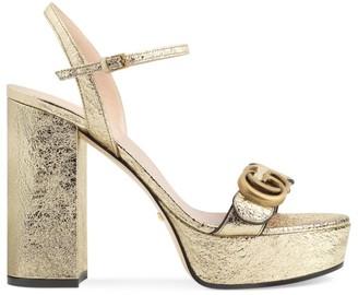 Gucci Marmont Metallic Leather Slingback Platform Sandals