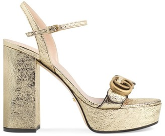Gucci Marmont Metallic Leather Slingback Platform Sandals