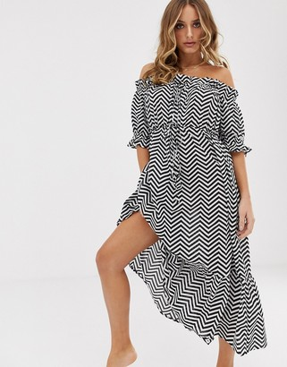 Asos DESIGN off shoulder tiered maxi beach dress in mono chevron print