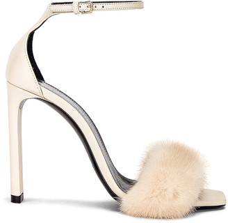 Saint Laurent Bea Ankle Strap Sandals in Pearl & Pearl | FWRD