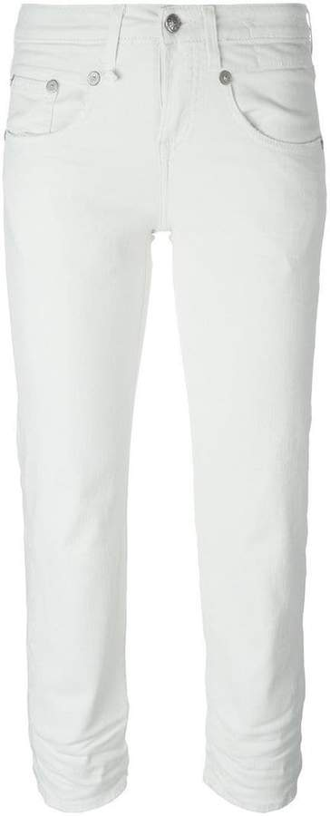 R 13 stretch skinny fit cropped jeans