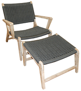 LG Outdoor Hanoi Harbour Steamer Armchair With Footstool, FSC-Certified (Acacia), Whitewash