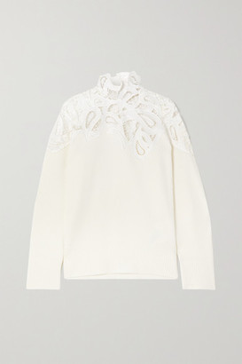 Sacai Corded Lace And Ribbed Cotton-blend Sweater - Off-white