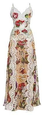 Dolce & Gabbana Women's Georgette Floral-Print Lace Panel Maxi Dress