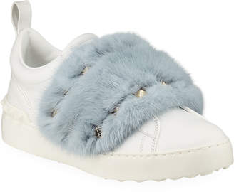 Valentino Garavani Rockstud Mink Fur Sneakers