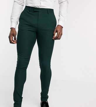ASOS DESIGN Tall wedding super skinny suit pants in forest green micro texture
