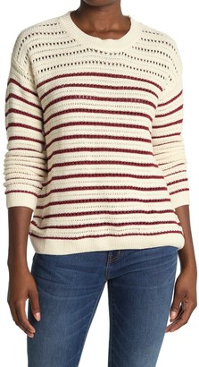 ALL IN FAVOR Striped Pointelle Knit Pullover Sweater