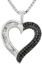 Black Diamond Fine Jewelry 1/4 CT. T.W. White and Color-Enhanced Sterling Silver Heart Pendant Necklace