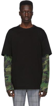 Juun.J Black Camo Layered Long Sleeve T-Shirt