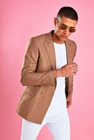 boohoo Mens Beige Boxy Double Breasted Blazer, Beige