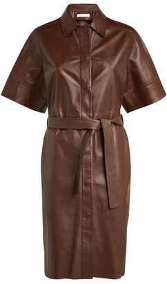 Fabiana Filippi Belted Leather Mini Dress
