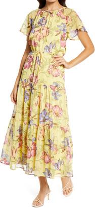 Chelsea28 Tie Front Floral Print Maxi Dress