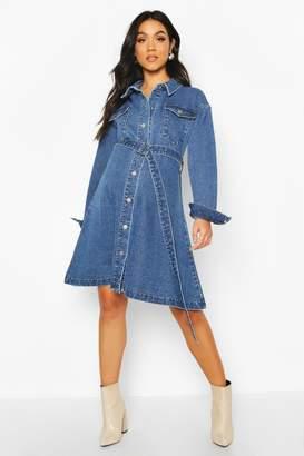 boohoo Maternity Button Front Denim Shirt Dress