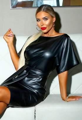 Pink Boutique Kisha Black PU Leather Batwing Midi Dress