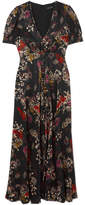 Saloni Lea Floral-print Silk-jacquard Maxi Dress