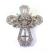 Ring Swarovski Crystal Cross Skull Día de Muertos Day of Dead Cocktail Silver