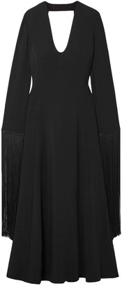 Stella McCartney Fringed Open-back Crepe Maxi Dress
