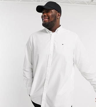 Tommy Hilfiger Big & Tall icon logo oxford shirt in white