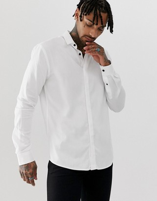 Twisted Tailor super skinny shirt in white