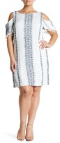 Sandra Darren Cold Shoulder Gauze Dress (Plus Size)