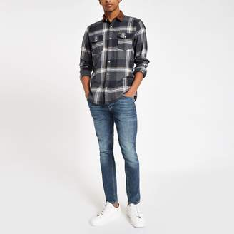 River Island Mens Only & Sons Brown check long sleeve shirt