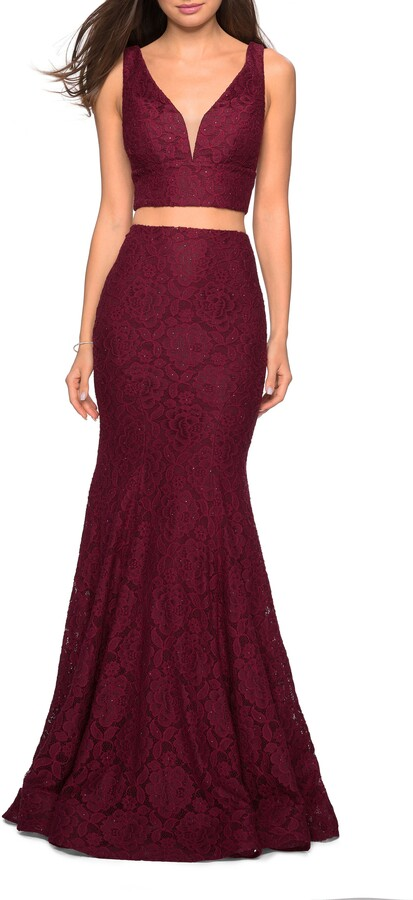 La Femme Two-Piece Stretch Lace Mermaid Evening Dress