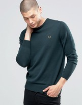 Fred Perry Jumper With Crew Neck In British Racing Green