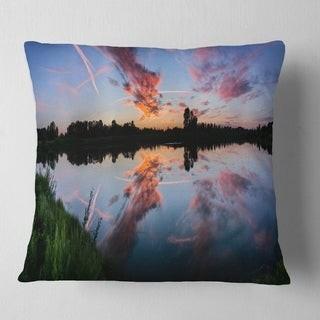 Design Art Designart 'Sunset Sky Mirrored in Lake Water' Landscape Printed Throw Pillow