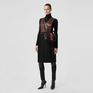 Burberry Plonge Lambskin and Wool Blend Pinafore Dress