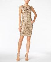 Calvin Klein Floral-Sequin Sheath Dress