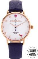 Kate Spade 34mm 5 O'clock Somewhere Metro Leather Strap Watch- Navy