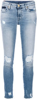 7 For All Mankind faded distressed skinny jeans
