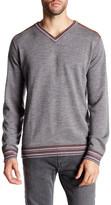 Robert Graham V-Neck Print Long Sleeve Classic Fit Wool Sweater