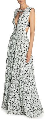 Proenza Schouler Leopard-Print Deep-V Neck Dress