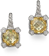 Judith Ripka Small Cushion Stone Earrings with 4 Hearts in Canary Crystal