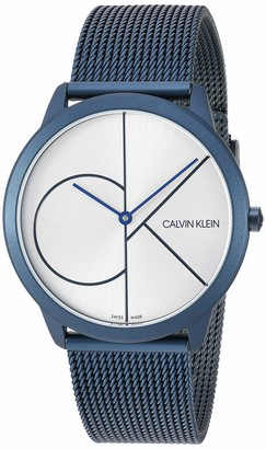 Calvin Klein Minimal Mens Mesh Bracelet With Logo Watch