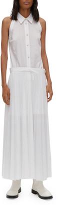 Helmut Lang Sleeveless Pleated Cotton-Blend Shirtdress