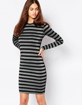 Minimum Striped Long Sleeve Body-Conscious Dress