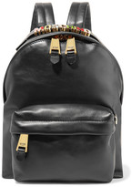Moschino Embellished Leather Backpack - Black