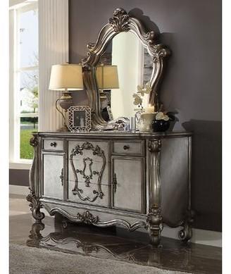 Astoria Grand Adeline 5 Drawer Combo Dresser with Mirror Color: Antique Platinum