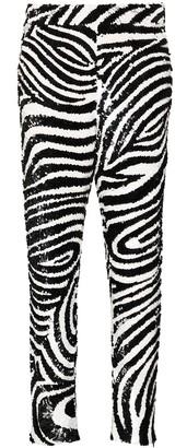 Ashish Zebra-Print Sequin-Embellished Trousers