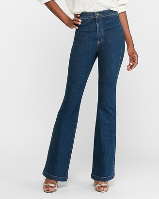 Express Super High Waisted Hyper Stretch Slim Flare Jeans