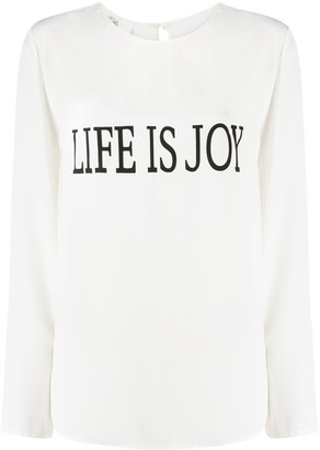 Alberta Ferretti long-sleeve slogan print T-shirt