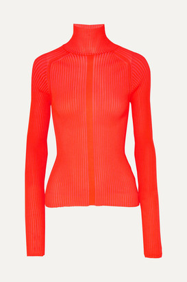 Acne Studios Komina Neon Ribbed-knit Turtleneck Sweater - Red
