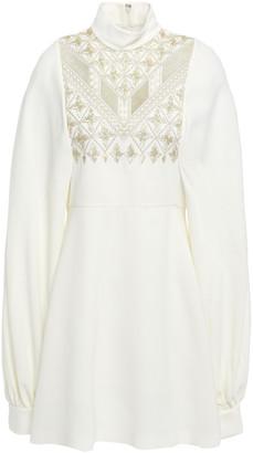Giambattista Valli Embroidered Stretch-crepe Mini Dress