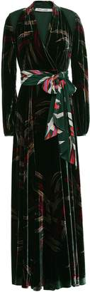 Diane von Furstenberg Wrap-effect Printed Velvet Maxi Dress