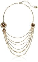 "Betsey Johnson Luminous Betsey"" Glitter Rose Multi-Row Layered Necklace"