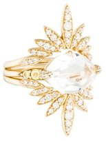 Alexis Bittar 14K Quartz & Diamond Ring Set