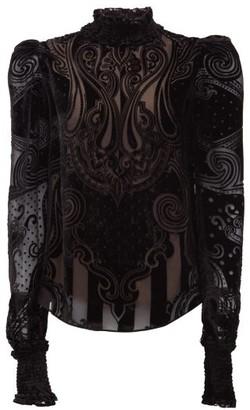 Balmain High-neck Velvet-devore Chiffon Blouse - Black
